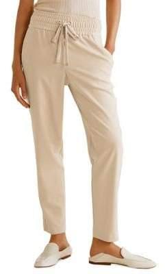 MANGO Ruched-Waist Pants