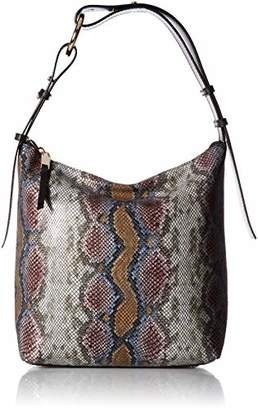 Calvin Klein womens Liana Python Belted Top Zip Slouchy Hobo