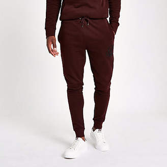 River Island Dark red 'R96' muscle fit joggers