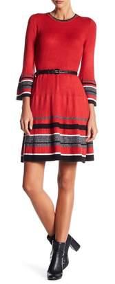 Eliza J Bell Sleeve Fit & Flare Sweater Dress