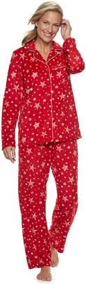 Croft & Barrow Women's Velour Shirt & Pants Pajama Set