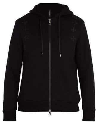 Neil Barrett Military Star Hooded Cotton Sweatshirt - Mens - Black