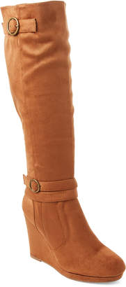 Wild Diva Lounge Chestnut Cassia Wedge Knee-High Boots