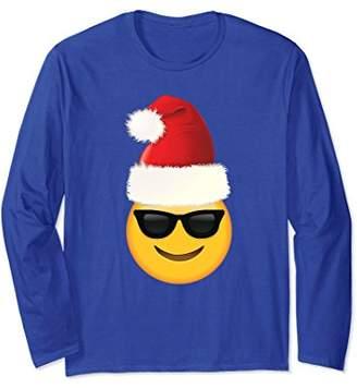 Cool Sunglasses Santa Hat Christmas Emoji Long Sleeve TShirt
