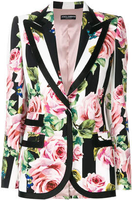 Dolce & Gabbana striped rose print blazer