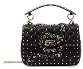 Valentino Rockstud Spike Snake Embroidered Flap Bag