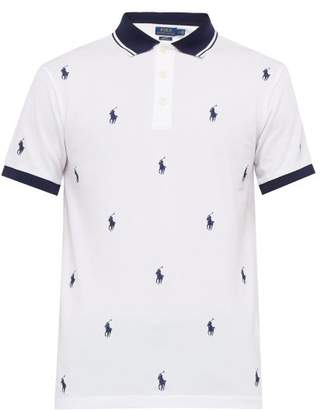 Polo Ralph Lauren Logo Embroidered Cotton Pique Polo Shirt - Mens - White