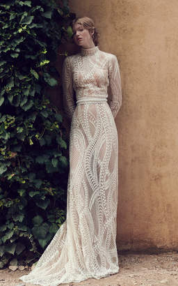 Costarellos Bridal Abstract Embroidered Long Tulle Gown