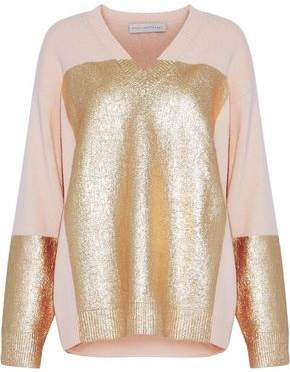 Stella McCartney Metallic Paneled Wool And Cashmere-Blend Sweater