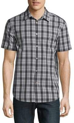 John Varvatos Mini Check Plaid Button-Down Shirt