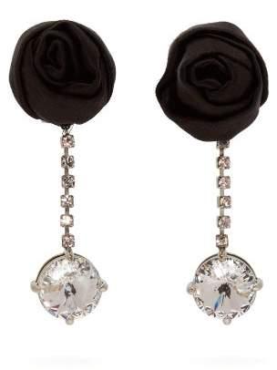 Miu Miu Rose And Crystal Embellished Drop Earrings - Womens - Black