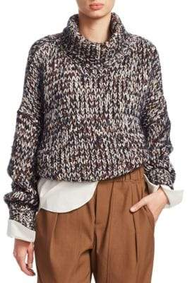 Brunello Cucinelli Marled-Knit Cropped Turtleneck Sweater