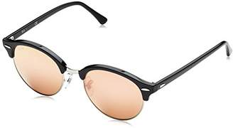 Ray-Ban Clubround RB4246 51 Non Polarized Sunglasses Top Wrinkled Black Frame/ Pink Mirror Lenses 51mm