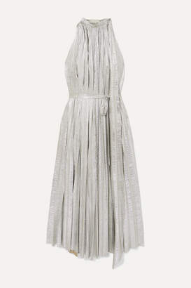 A.W.A.K.E. Mode Oyster Pleated Lamé Maxi Dress - Silver