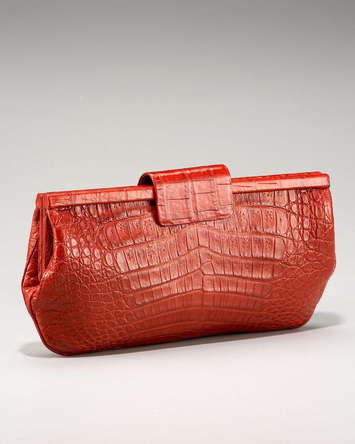 Nancy Gonzalez Shiny Frame Croc Clutch
