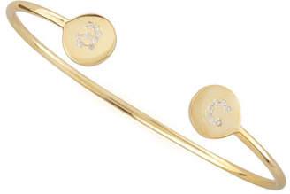 Sarah Chloe Elle Pave Diamond Initial Bracelet, Gold