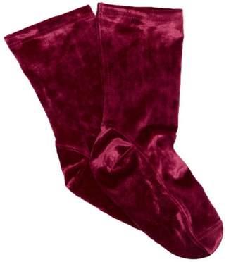 Darner Socks - Crushed Velvet Ankle Socks - Womens - Burgundy