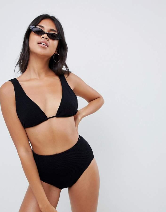 ASOS DESIGN mix and match crinkle high waist bikini bottom in black