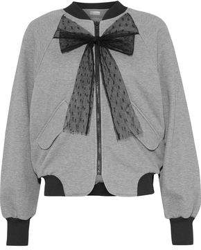 eff393d9d50972 RED Valentino Pussy-bow Printed Cotton-blend Jersey Bomber Jacket