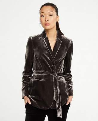 Ann Taylor Petite Velvet Belted Blazer
