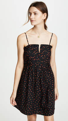 Madewell Strawberries Pintuck Ruffle Cami Dress