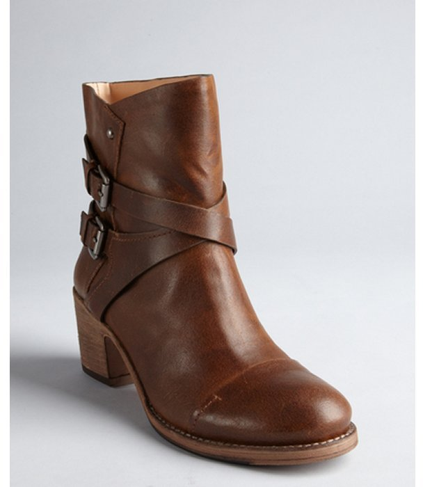 Belle by Sigerson Morrison camel distressed leather banded 'Ashlin' mid-shaft boots