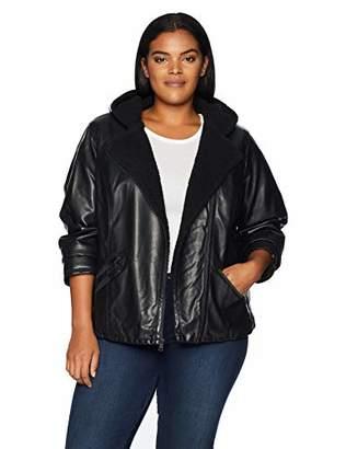Levi's Women's Plus Size Faux Leather Sherpa Lined Hooded Moto Jacket