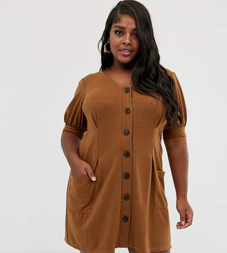 Asos DESIGN Curve puff sleeve textured dress with faux horn buttons