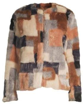 Rebecca Taylor Dyed Faux Fur Patch Jacket