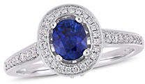 CONCERTO Vault-Sapphire 14K White Gold Sapphire and 1/2 CT TW Diamond Halo Ring