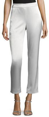St. John Collection Liquid Satin Cropped Pants, Silver $495 thestylecure.com