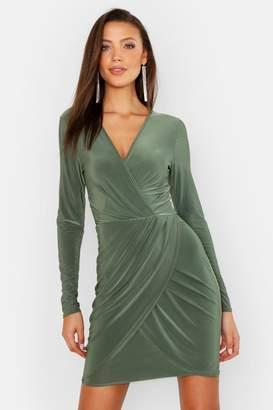 boohoo Tall Plunge Slinky Bodycon Midi Dress