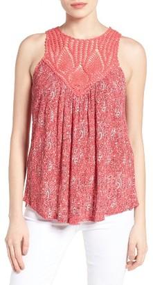 Women's Lucky Brand Crochet Yoke Paisley Tank $59.50 thestylecure.com