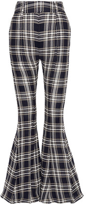Beaufille - Navi Plaid Open-knit Cotton Flared Pants - Navy