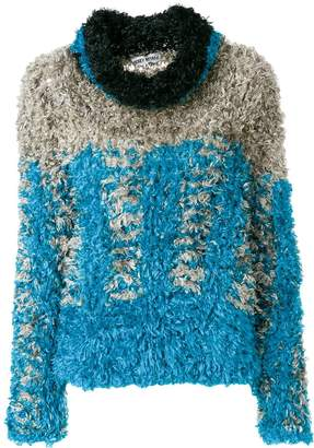 Issey Miyake Pre-Owned roll neck fluffy sweater