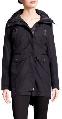 Andrew Marc Leather Trim Parka $595 thestylecure.com