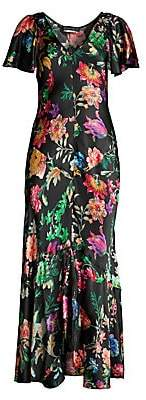Etro Women's Pop Floral Satin Maxi Dress