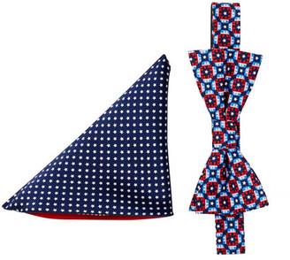 Alara Silk Theodore Elephant Geo Bow Tie & Pocket Square Set $75 thestylecure.com