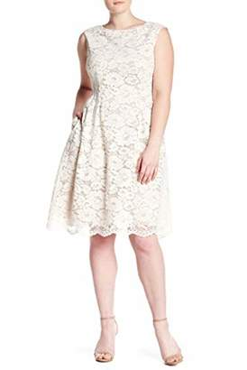 Vince Camuto Women's Lace Extended Cap Sleeve Fit and Flare Dress