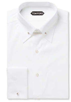 Tom Ford White Slim-Fit Pinned-Collar Double-Cuff Cotton-Poplin Shirt - White