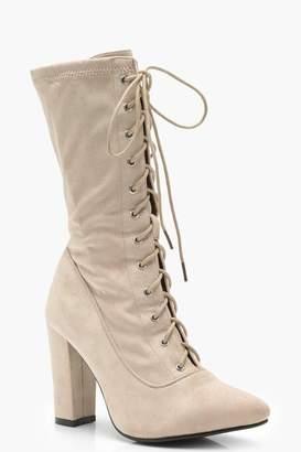 boohoo Lace Up Block Heel Sock Boots