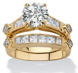PalmBeach Jewelry Palm Beach Jewelry 3.14 TCW Cubic Zirconia Two-Piece Bridal Ring Set in 18k Gold over Sterling Silver