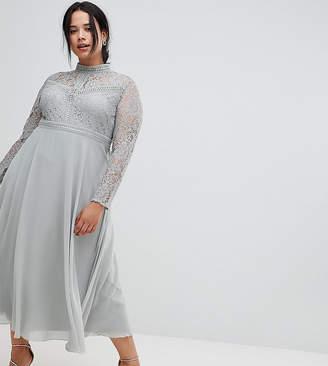 Little Mistress Plus lace top full midi prom dress