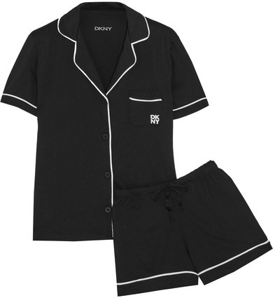 DKNY DKNY - Signature Cotton-blend Jersey Pajama Set - Black