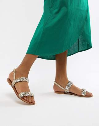 Asos DESIGN Frenchie leather plaited flat sandals