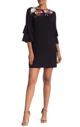 Trina Turk trina Leona Tiered 3/4 Sleeve Embroidered Dress