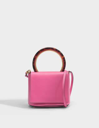 Marni Round Circle Flap Bag in Fuchsia Fluo Calf Leather