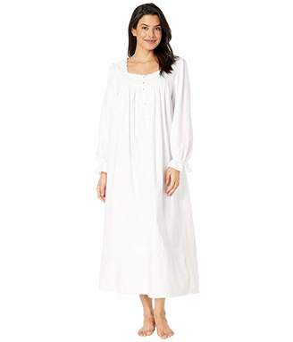 Eileen West Cotton Flannel with Embroidery Long Sleeve Ballet Nightgown