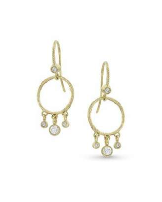 Dominique Cohen 18k Gold Diamond Hoop Drop Fringe Earrings