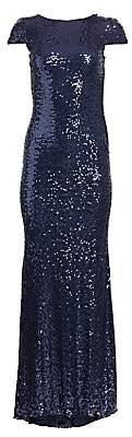 Badgley Mischka Women's Sequin Cowl-Back Gown